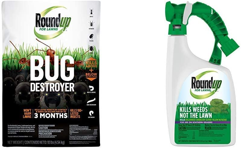 Roundup 4385404 Pest Control, 10 lb. with 5008610 for Lawns Ready to Spray, 32oz