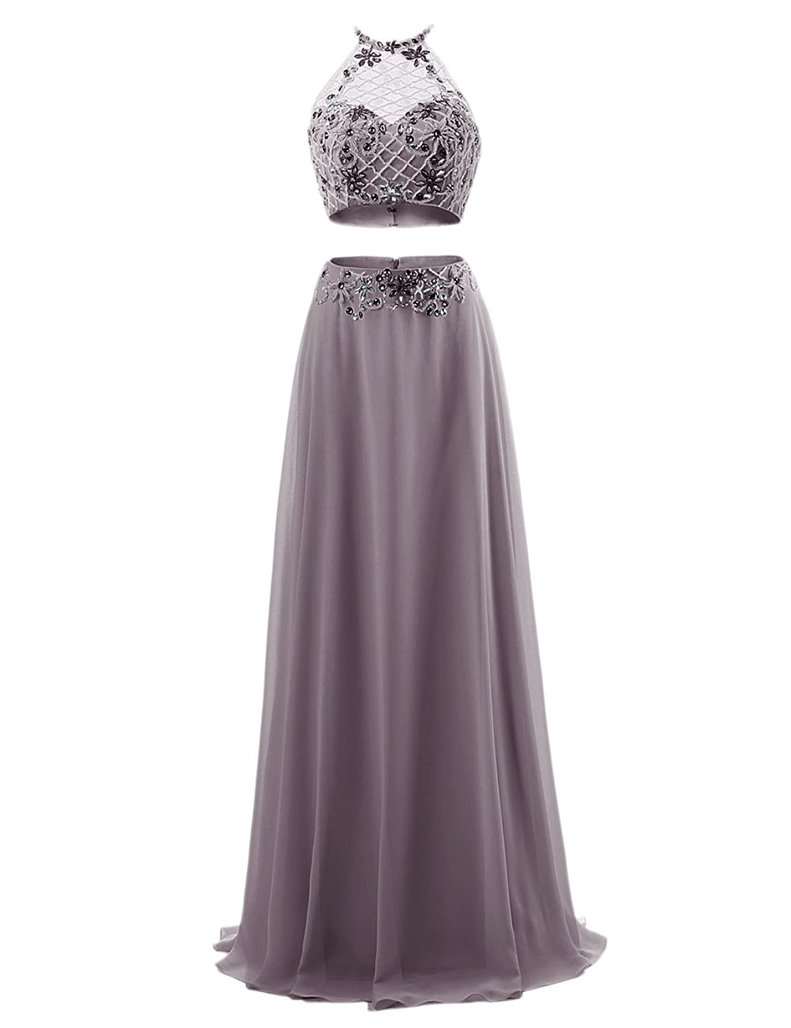 Bbonlinedress Women's Two Pieces Halter Beaded Bridal Evening party prom dress