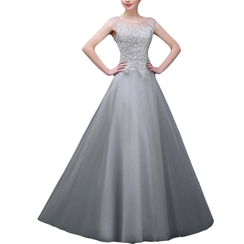 Amazon.com: Lemai Women Silver Sheer Bateau Lace A Line Formal Prom ...