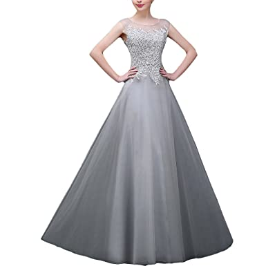 9d64329126ab Lemai Women Silver Sheer Bateau Lace A Line Formal Prom Dresses Evening  Gowns - Silver -: Amazon.co.uk: Clothing