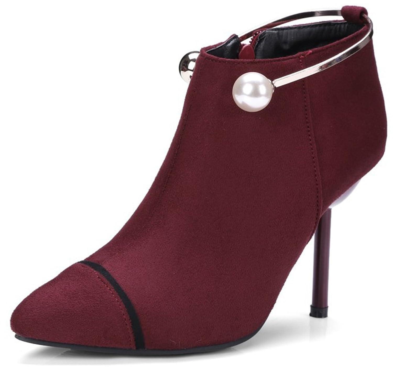 Aisun Damen Spitz Zehen Knöchelhohe Metallic Perlen Stiletto Stiefel Mit Reißverschluss Rot 38 EU IzTMRIH