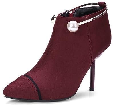 Aisun Damen Spitz Zehen Knöchelhohe Metallic Perlen Stiletto Stiefel Mit Reißverschluss Schwarz 39 EU 4p412wPXv