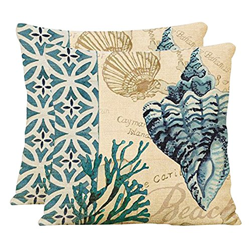 """Price comparison product image Famibay Decorative Pillow Cover Ocean Park Theme Square Cotton Linen Throw Pillow Case Cushion Cover(Pack of 2 18""""x18"""", Conch Coral)"""