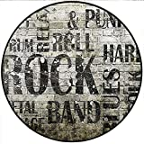 Short Plush Round Area Rug Grunge Music with Punk Jazz Rock Metal Garage Soft Blues Folk Artsy Murky Graphic Black Grey Dining Room Bedroom Hallway Home Office 19.7'' x 19.7'' Round