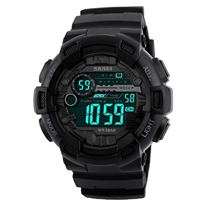 SKMEI Digital Dial Men's Watch-1243 Black Men at amazon
