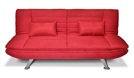Divano letto clic clac in tessuto rosso - Divano 3 posti mod. Iris ...