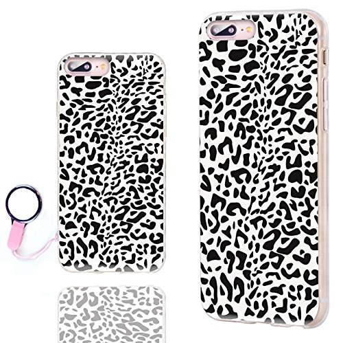 iPhone 8 Plus Case Cute,iPhone 7 Plus Case Cool, ChiChiC [Orignal Series] Slim Flexible Soft TPU Rubber Cases Cover for iPhone 7 8 Plus 5.5 Inch, black white Animal skin Leopard print