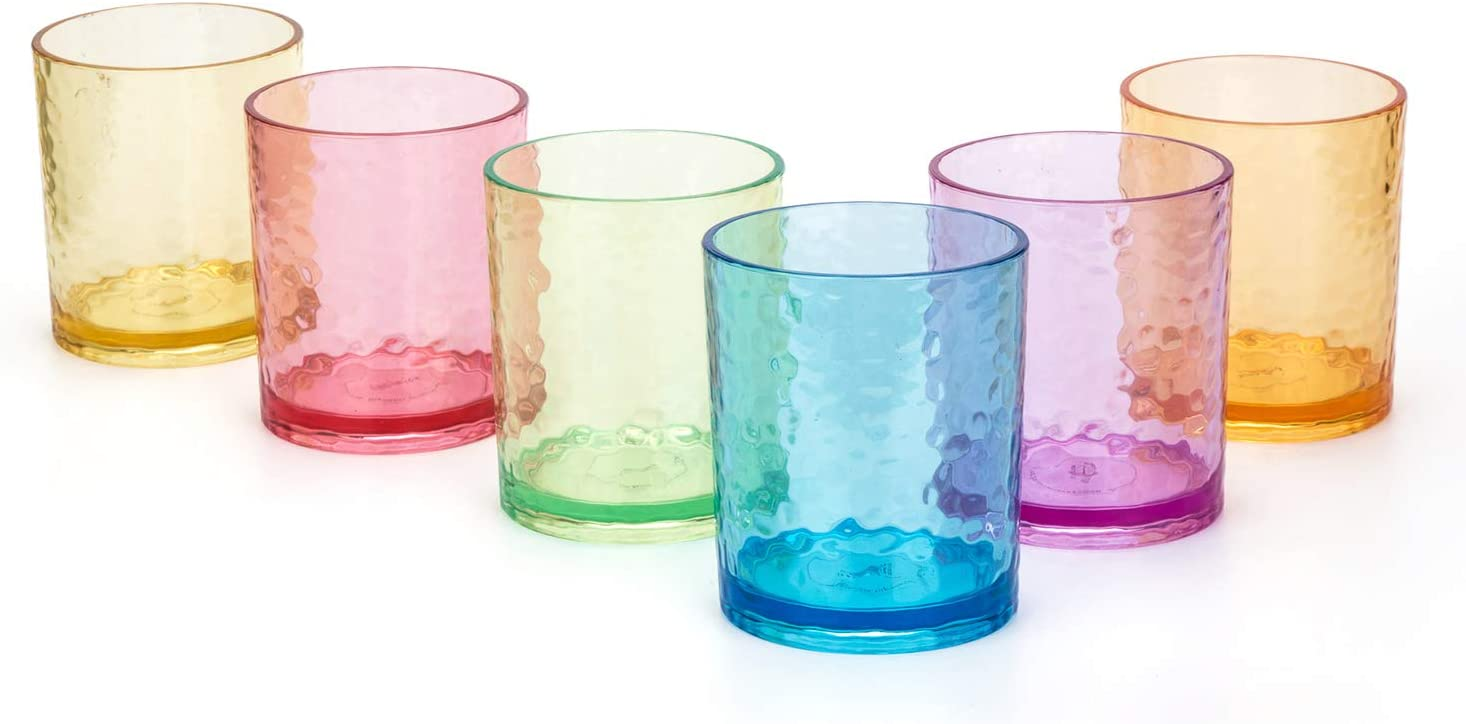 14-ounce Acrylic Glasses Plastic Tumbler, set of 6 Multicolor - Hammered Style, Dishwasher Safe, BPA Free