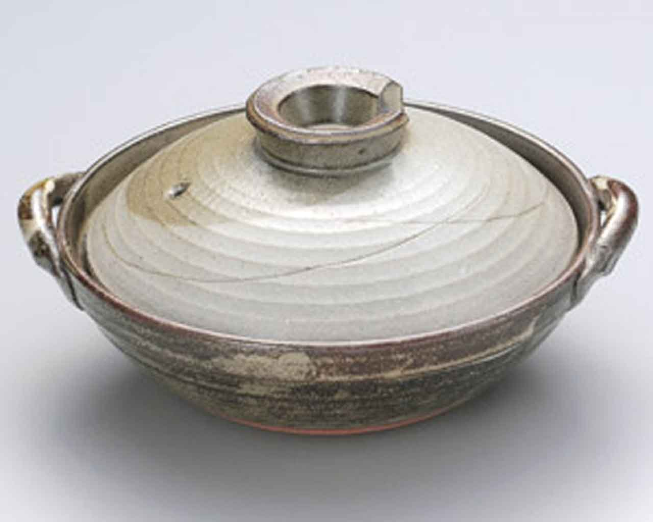 Kyoto-Iori for 5-6 persons 13inch Donabe Japanese Hot pot Grey Ceramic Made in Japan