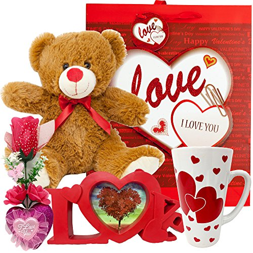 Valentines Day Gift Basket Set | 12 Inch Teddy Bear Plush, 15 Oz Ceramic Mug, I Love you Flower Box, Love Red Shaped Photo Frame & V-Day Themed Gift Bag | For Her Wife Girlfriend Mother Daughter (Best Valentine's Day Chocolate Box)