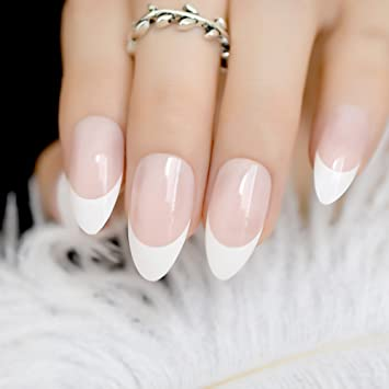 Amazon.com : Beige Short Round French Fake Nails Mixted Glitter Nail ...