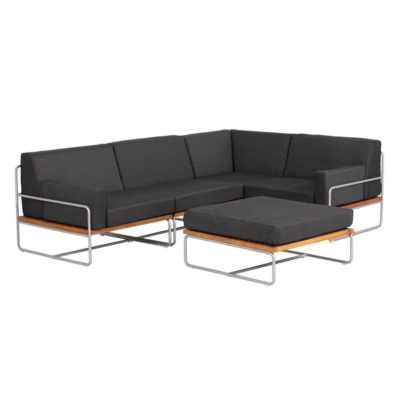 loungem bel outdoor outliv largo gartenlounge 5 teilig stahl akazie mit textil polstern in grau. Black Bedroom Furniture Sets. Home Design Ideas