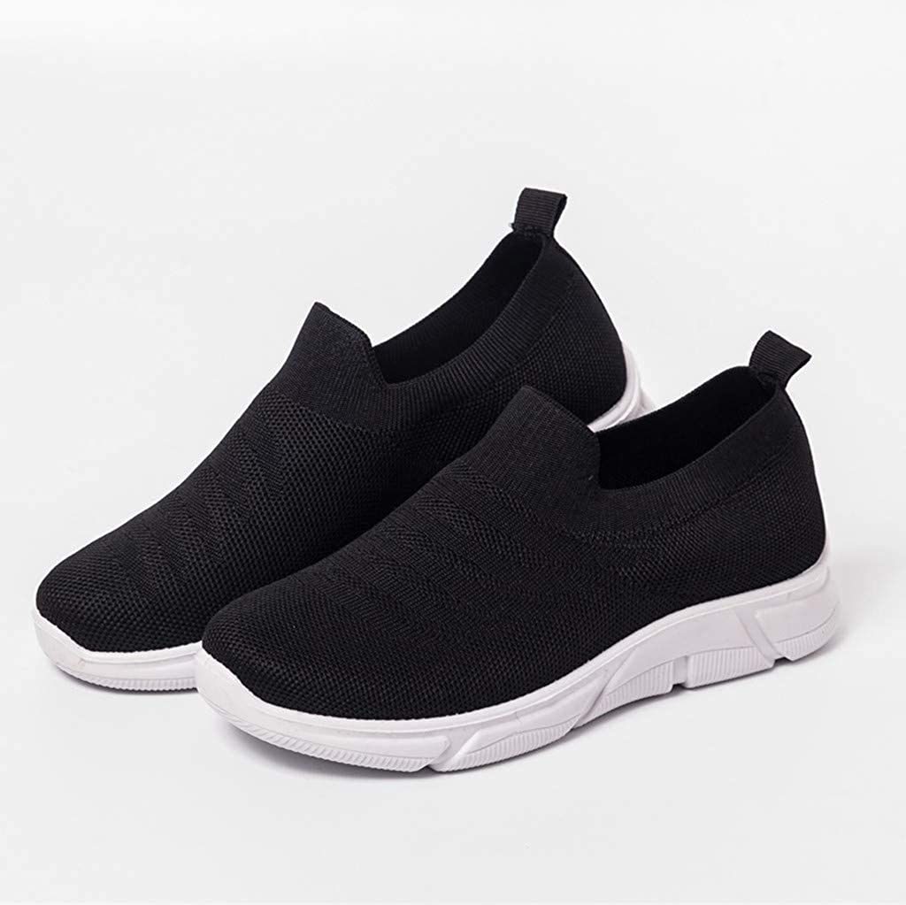 Moonker Womens Slip On Arch Support Sneaker Wide Width Walking Shoes Ladies Girls Outdoor Mesh Sports Running Shoes