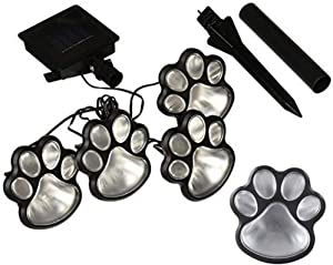 Lighting 4 Solar Cat Animal Paw Print Lights LED Solar Lamps Garden Outdoors Lantern LED Path Decorative Footprints Lamp,Multicolor