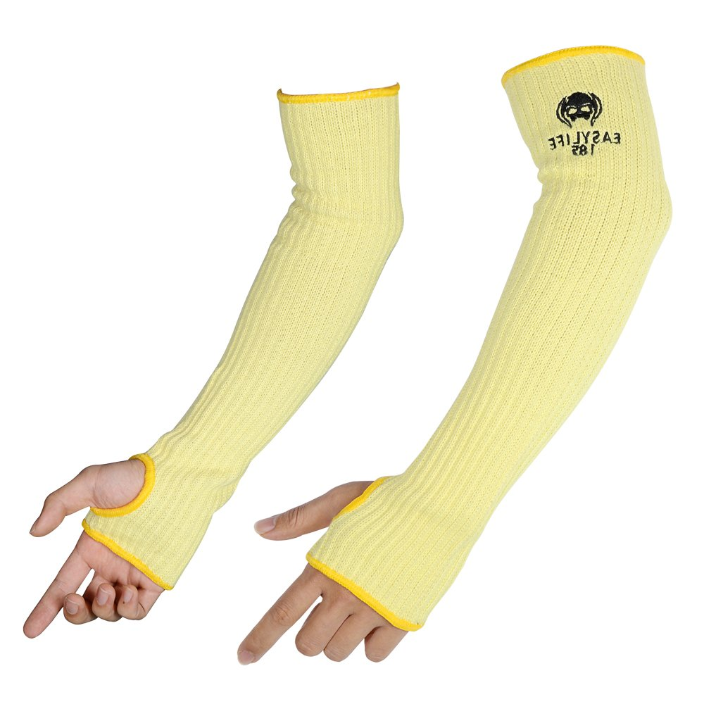 2PACK(1Pair) 100% Kevlar Arm Sleeves Protection Cut Resistant Knit Sleeve 18-Inch Long with Thumb Slot Helps Prevent Scrapes ,Scratches Skin Irritations UV-Protection Yellow