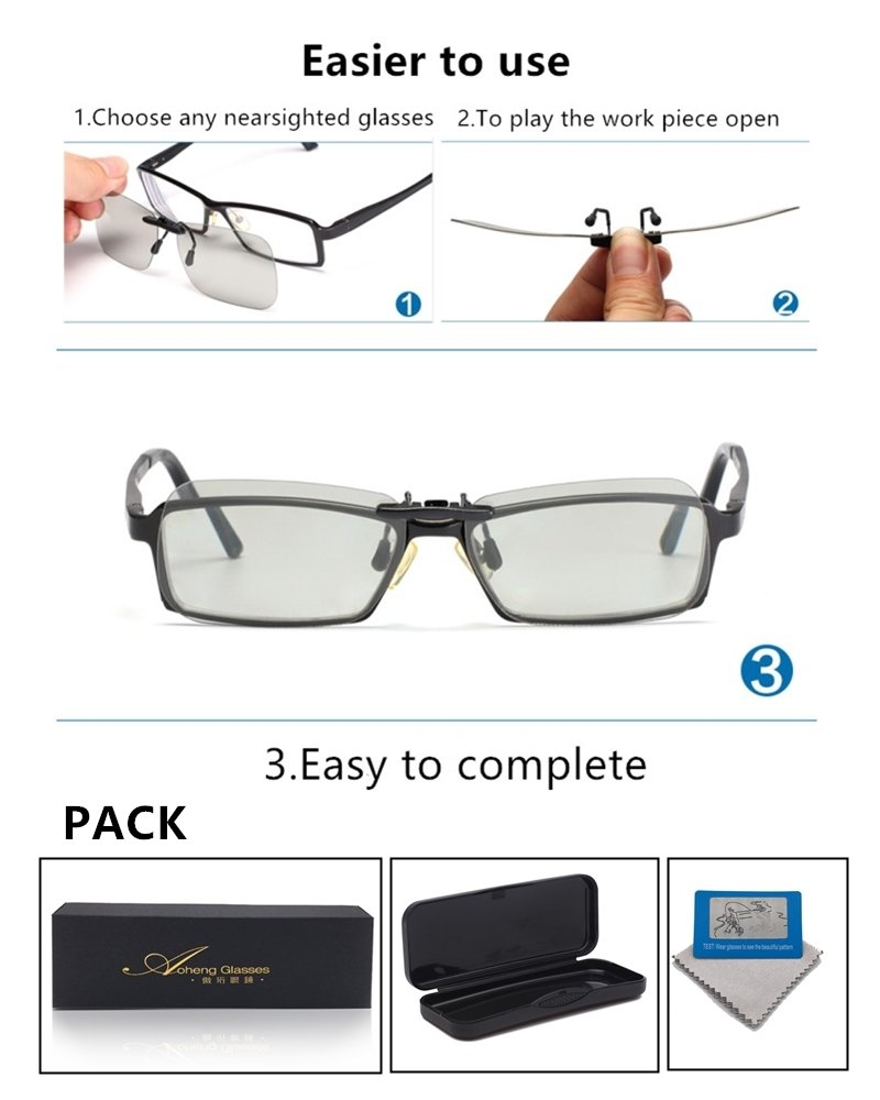 3D Viewing Surprise For Eyewear Users | Square 3D Glasses Clip On Glasses For Movie/Cinema/Theater/3D TV/3D Projector | 100% NO visual interference | Lightest And Most Comfortable | (RealD)