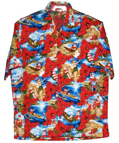 RJC Mens Santa Claus Beach Fun Xmas Hawaiian Style Rayon Shirt at ...
