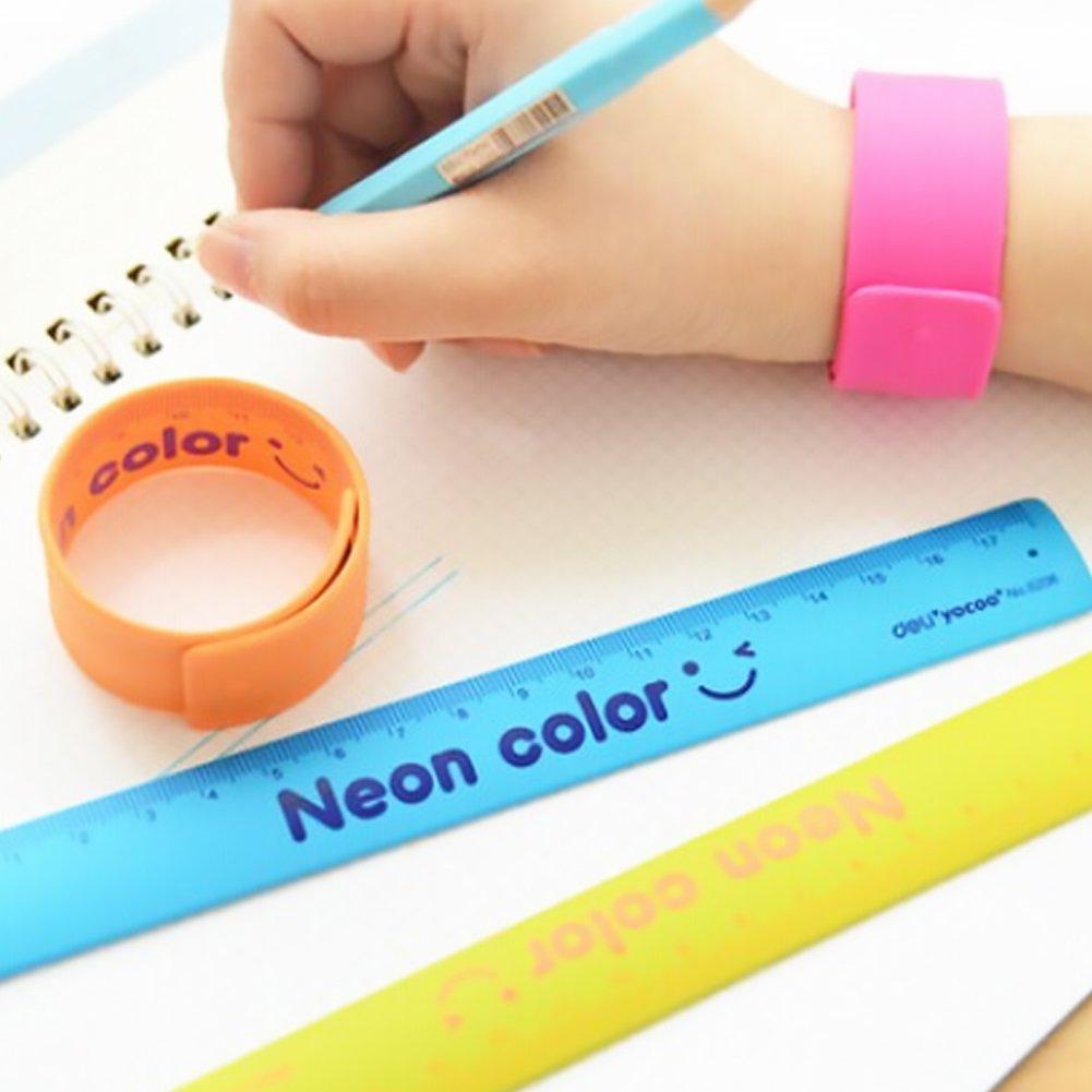 Ruler Slap Band 180mm Party Toys Measuring School Flexible Ruler Shatterproof Stationery Random Colors 1Pc