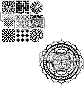 Crafter's Workshop Stencil 2 Pack, Reusable Stenciling Templates for Art Journaling, Mixed Media, and Scrapbooking, TCW385 Moroccan Tiles and TCW461 Rosetta, 6 inch x 6 inch