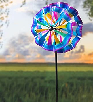 Etonnant Colorful Ruffled Garden Wind Spinner, Large 24 Dia. X 7 H   Powder Coated