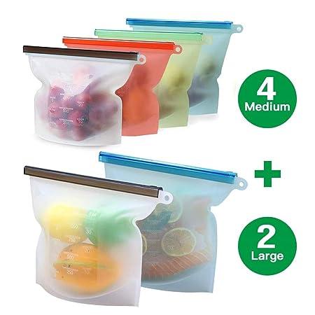 Silicona 6 PCS Bolsas de almacenamiento de alimentos ...