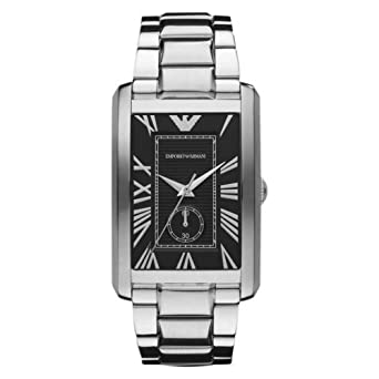 Emporio Armani AR1608 Gents Stainless Steel Watch with Black Dial