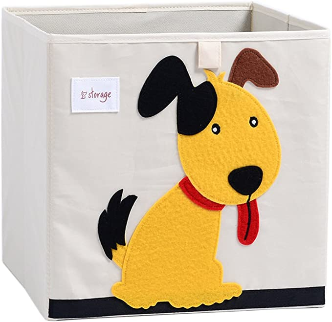 Tiger TsingLe Kids Toy Storage Box with Lid Foldable Cartoon Canvas Cube Organiser Large Capacity for Toys Clothes Shoes 33x33x34cm,36L