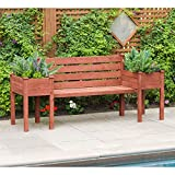 Leisure Season Wood Bench with Raised Planter Box Ends