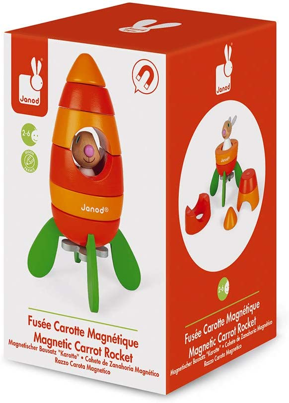 and Developmental Play/  Janod Wood Rabbit Magnetic Carrot Rocket Kit Creative Inventive Imaginative STEM Approach to Learning 5 Piece Stacker Toy Montessori 2-in-1 Game Ages 2-6 Years