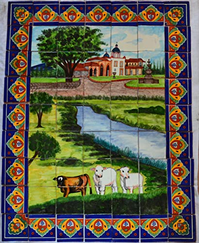 COLOR Y TRADICIÓN Mexican Talavera Mosaic Mural Tile Handmade Ranch Cows Backsplash Folk Art #10