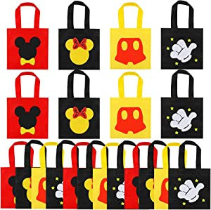 20 Pcs Mouse Favor Bags, Treat Candy Goodie Gift Non-woven Bags Reusable for Baby Birthday Party Supplies Baby Shower Mouse Theme Party Decorations