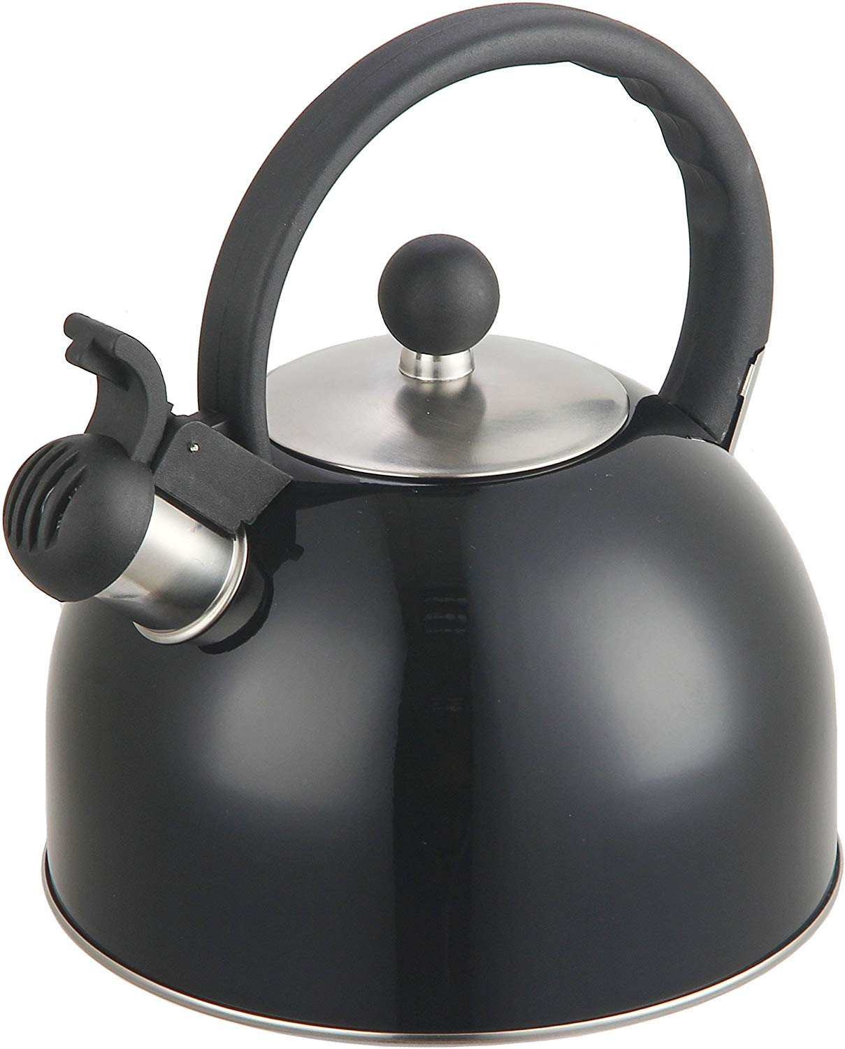 2 Liter Stainless Steel Whistling Tea Kettle - Modern Stainless Steel Whistling Tea Pot for Stovetop with Cool Grip Ergonomic Handle (Black) by DFL INC.