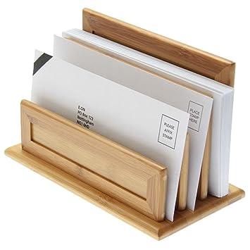 3-Slot Carta Soporte, papel Organizador Rack. Hecho de bambú ...