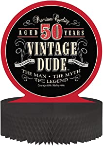 Creative Converting Vintage Dude 50th Birthday Centerpiece with Honeycomb Base (3-Pack)