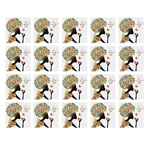 YOLIYANA Floral Waterproof Ceramic Tile Stickers,Woman Silhouette with Hot Tea Cup Butterflies Wings Daisies Poppy Hibiscus Hairstyle for Kitchen Living Room,One -