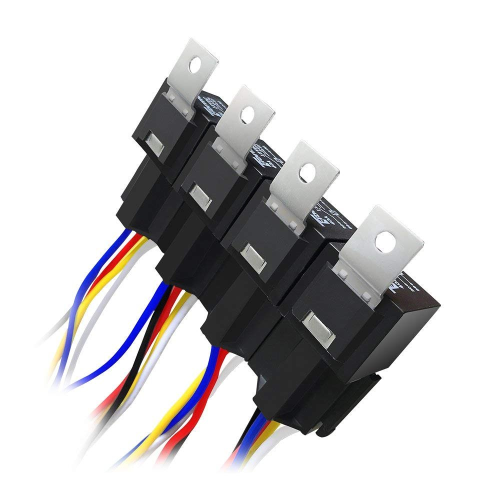 6 Pack Relay Harness Spdt Automotive Electrical Fuse Schematic Symbols Also 5 Pin Wiring Diagram On 12v Switch Set W Socket Holder Interlocking Block 12 Gauge Pigtails Wire