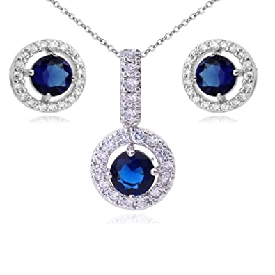 Blue Simulated Sapphire Zirconia Crystals Round Set Pendant Necklace 18