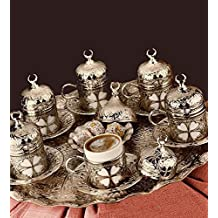 27 Pieces Turkish Greek Coffee Espresso Set for Serving - Porcelain Cups with Tray and Saucers - Vintage Tulip Design Ottoman Arabic Gift Set, Silver