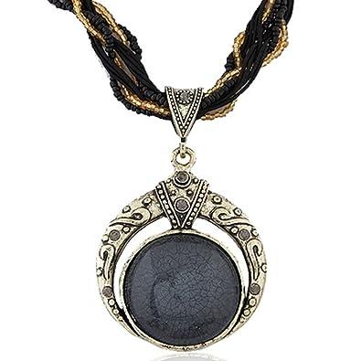Fashion Bohemian Jewelry Blue Stone Pendant Necklace Statement Necklaces  for Women Rhinestone Gem Pendant Collar ( f3ba0662db2c