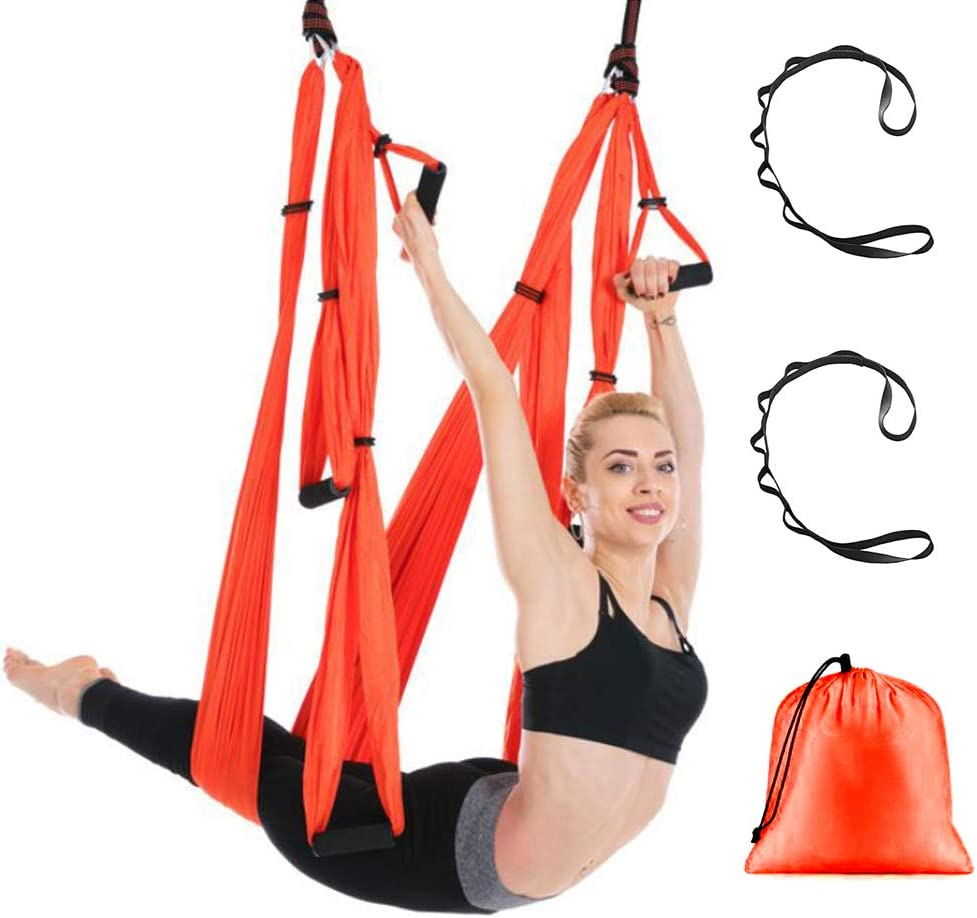 US Anti Gravity Inversion Yoga Therapy Aerial Trapeze Swing Hammock Flying Sling