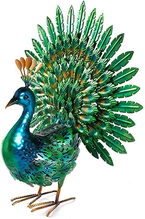 "37/"" Outdoor Garden Decor Multi Color Realistic Metal Peacock Sculpture Statue"