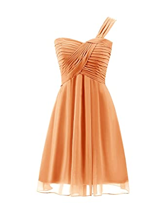 Sarahbridal Short Chiffon Prom Dresses Pleated with One-Shoulder SSD427 Orange Size UK 6
