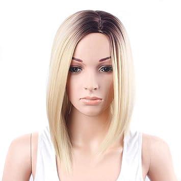 Pelucas Cortas Rectas De Bob para El Pelo Femenino Atractivo De Las Raíces Oscuras Sintéticas (