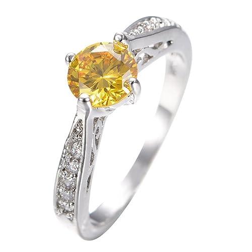Smilely Noble fiesta amarillo Sapphire Topacio promesa anillo oro blanco relleno Engaget anillos de boda