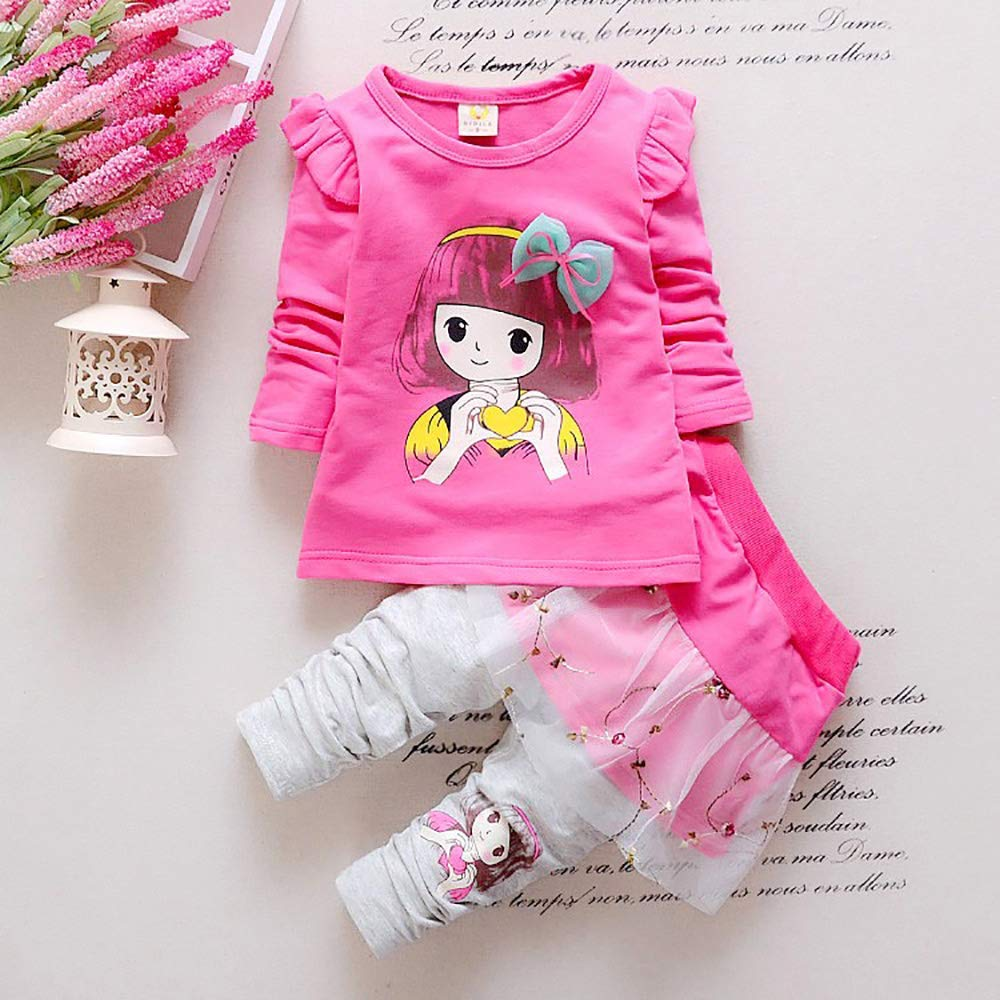Baby Girls Clothing Set Tracksuit Outfits Kids T-Shirt Pants Clothes Sets