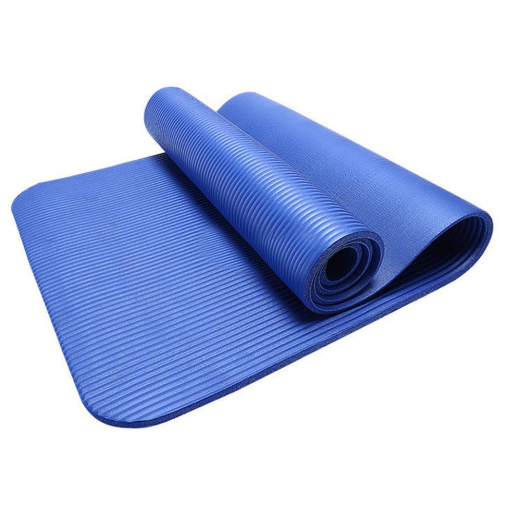 Sunward Weigh Extra Thick High Density Exercise Yoga Mat with Carrying Strap (Free Size, Blue)