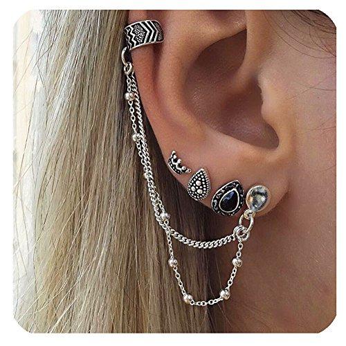 Zealmer Ear Clip Set Vintage Silver Piercing Non Piercing Ear Cuff Set Charm Crown Round Water Drop Shape