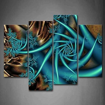 Amazoncom First Wall Art Fractal Blue Spiral Brown Wall Art