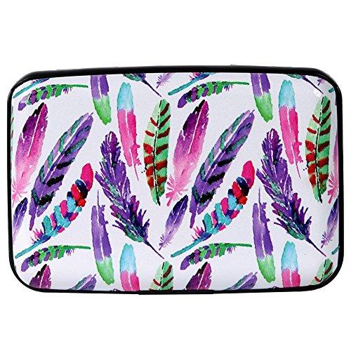 Kaabao Aluminum Wallet RFID Blocking Slim Metal Credit Card Holder Hard Case (Watercolor Colorful Bird Feathers)