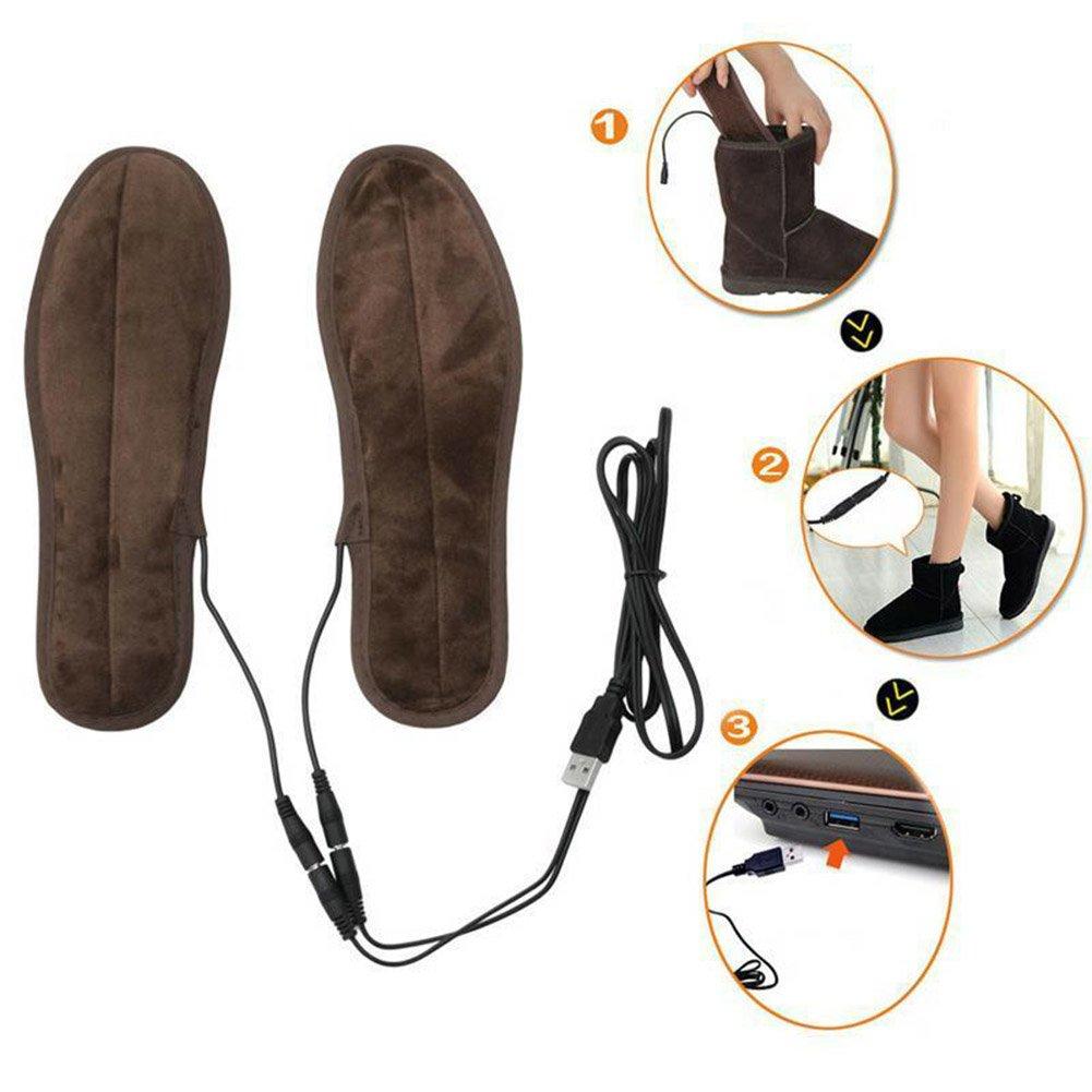 Butterme 1 Paire USB Alimentation /électrique Chaussures chauffantes Semelles INOX Warm Plush Plates Pieds Warmth-Keeping Pads